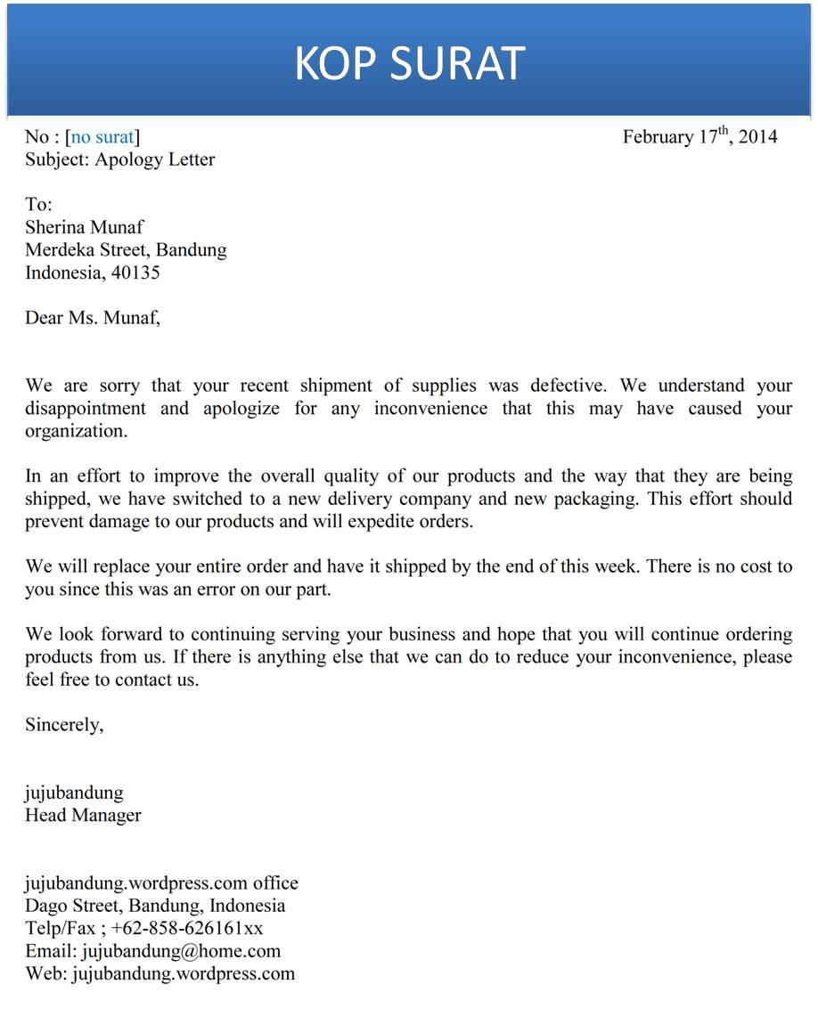 Contoh 3 – Surat permintaan maaf tidak dapat hadir rapat.