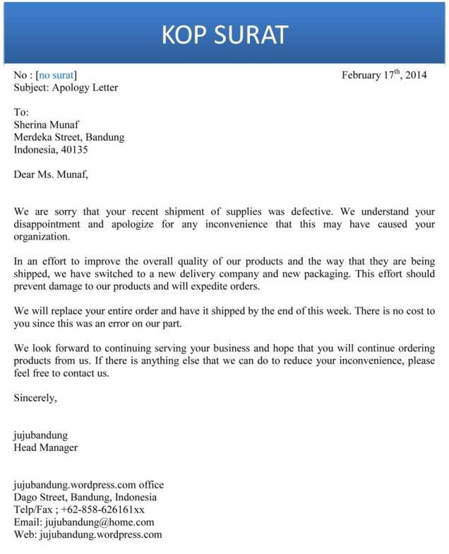 Contoh Surat Bisnis Permohonan Maaf Bahasa Inggris