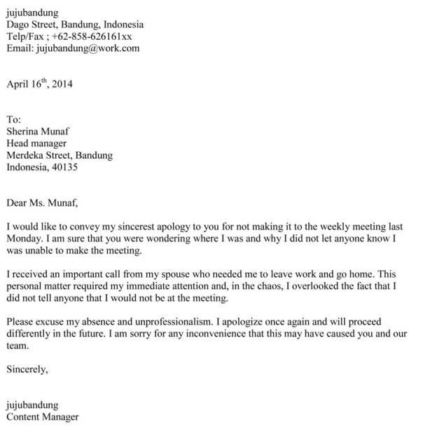 Contoh Surat Permintaan Maaf Formal Dalam Bahasa Inggris