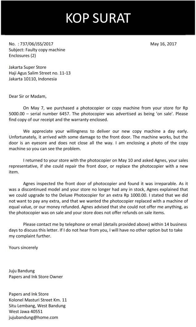 surat complaint barang 3b