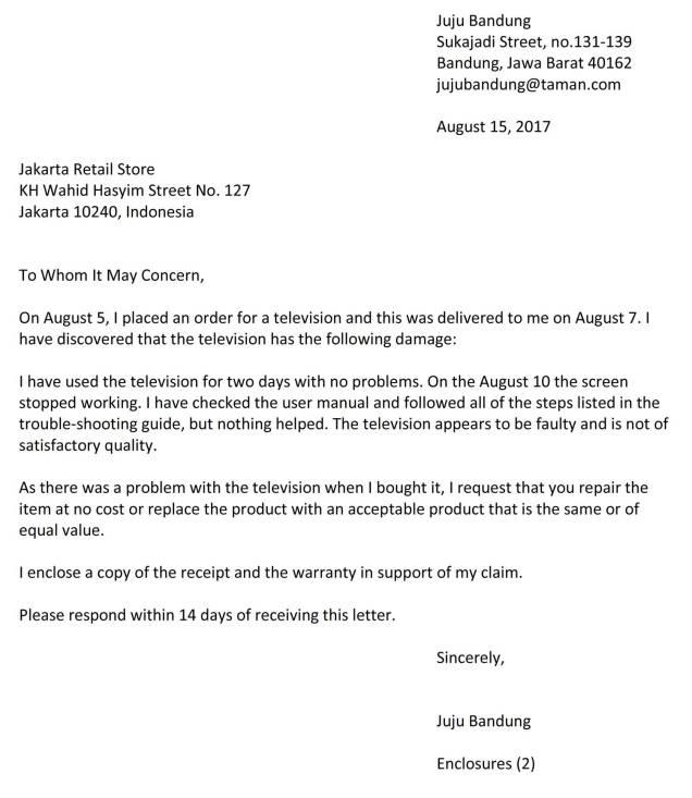 surat complaint barang 4b