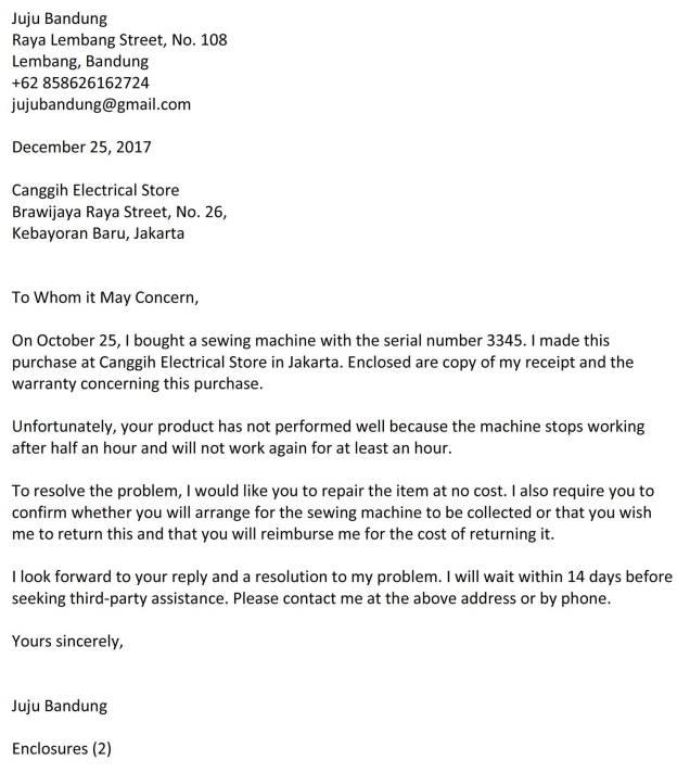 surat complaint barang 7b
