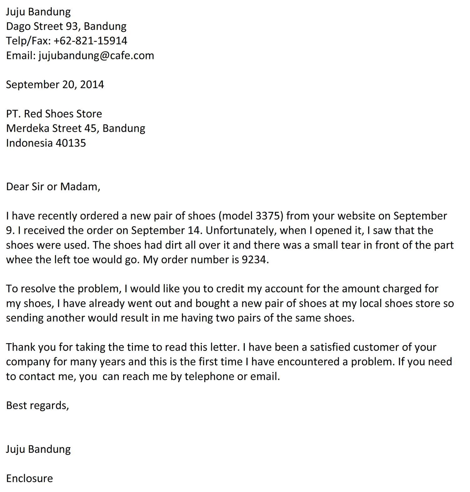 Surat Komplain Membeli Barang Rusak Bahasa Inggris Jujubandung