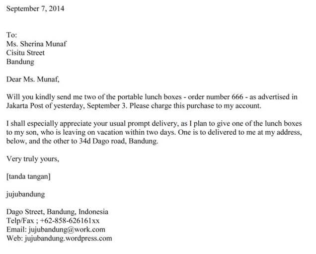 Surat Order Letter Bahasa Inggris