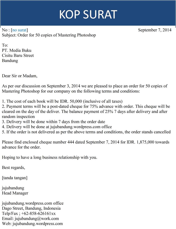 Nia Kania Nurrohmah Surat Order Letter Bahasa Inggris