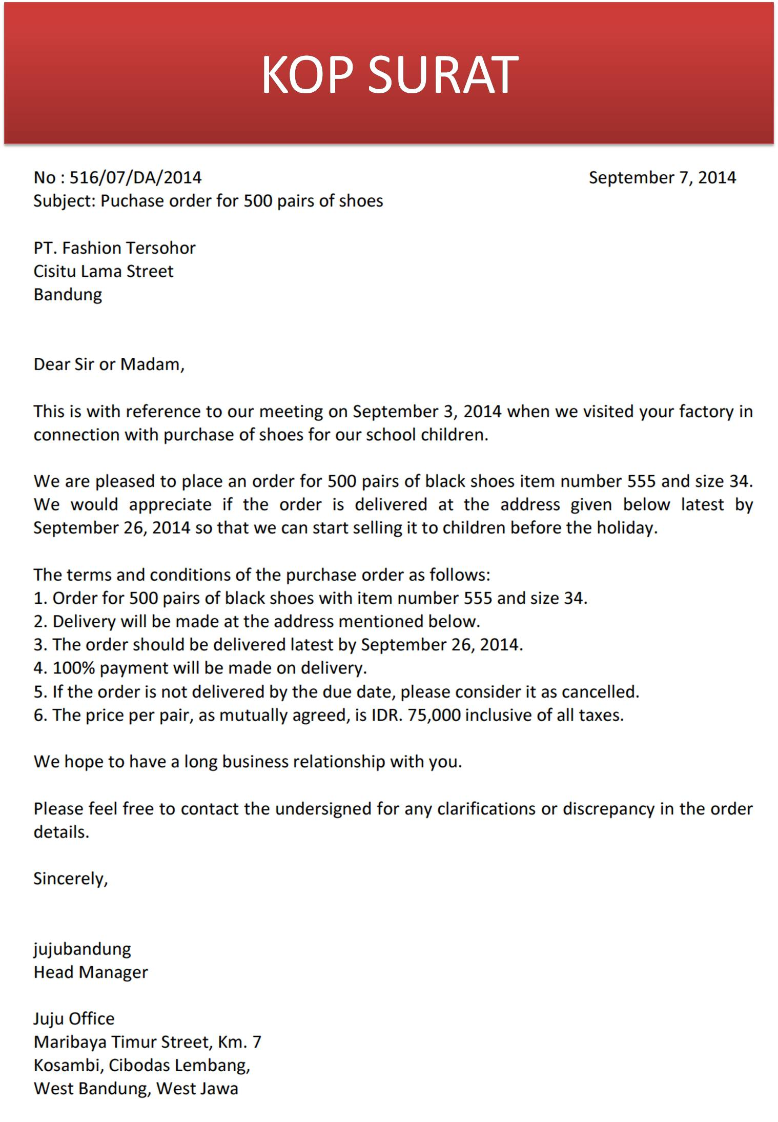 Surat Pemesanan Bahasa Inggris Order Letter Jujubandung