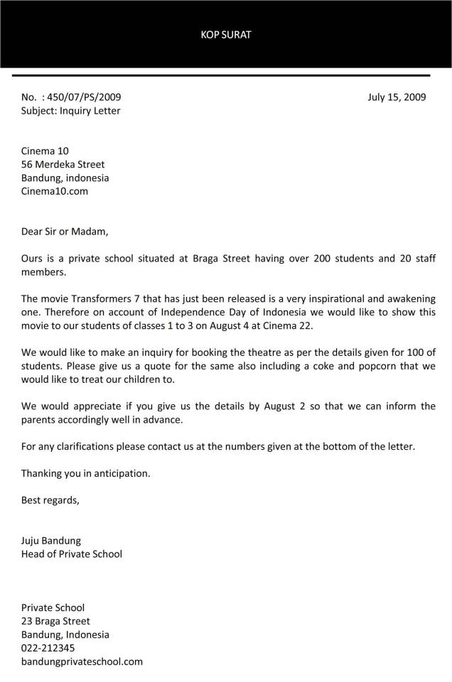 Surat permintaan bahasa Inggris C2