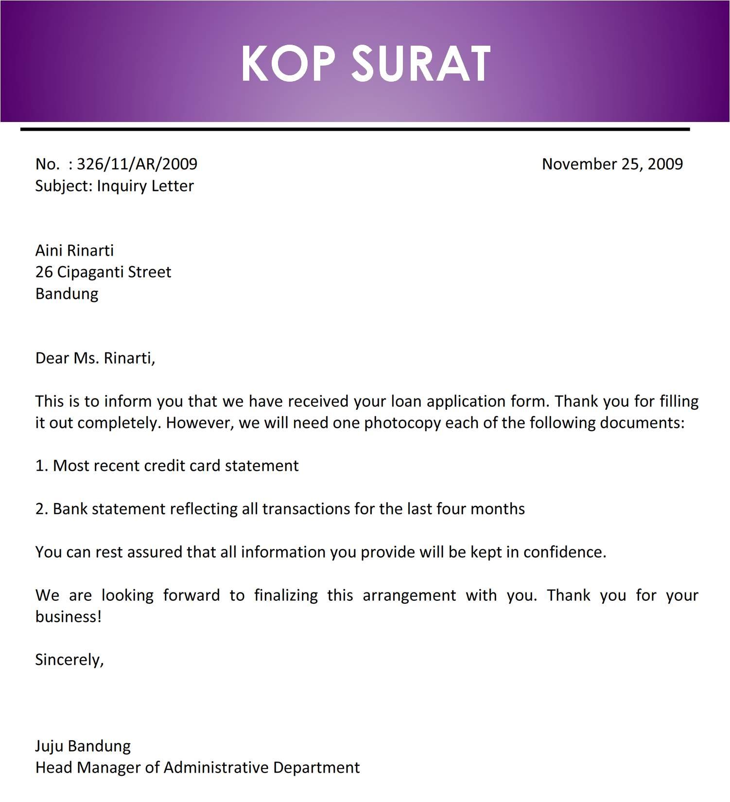 Surat Permintaan Informasi Dari Peserta Kredit Bahasa ...
