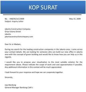 Surat permintaan informasi produk atau jasa C10