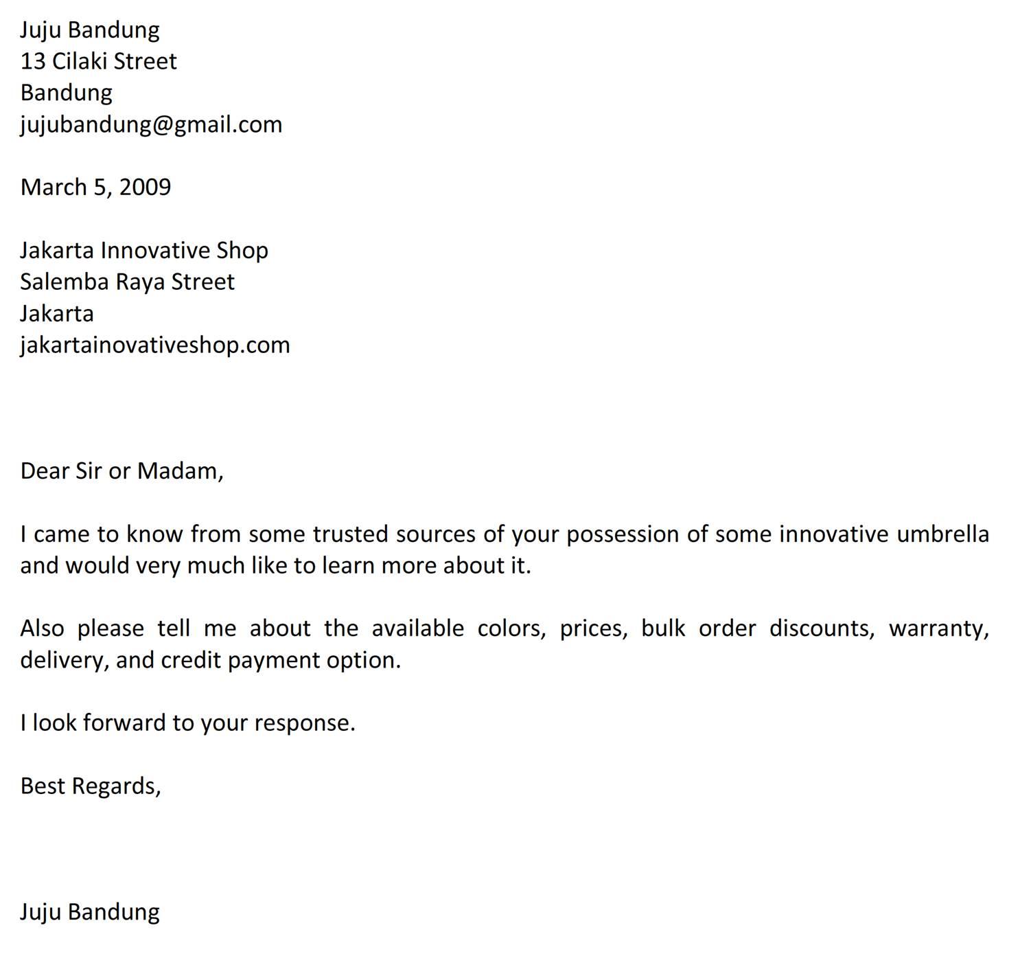 Surat Permintaan Informasi Produk Atau Jasa Bahasa Inggris