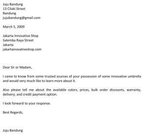 Surat permintaan informasi produk atau jasa C5