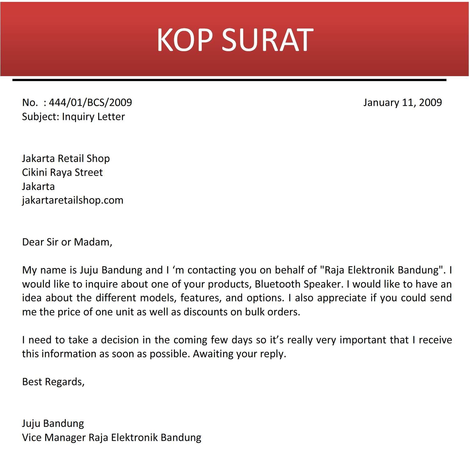 Surat Permintaan Informasi Produk Atau Jasa Bahasa Inggris Jujubandung