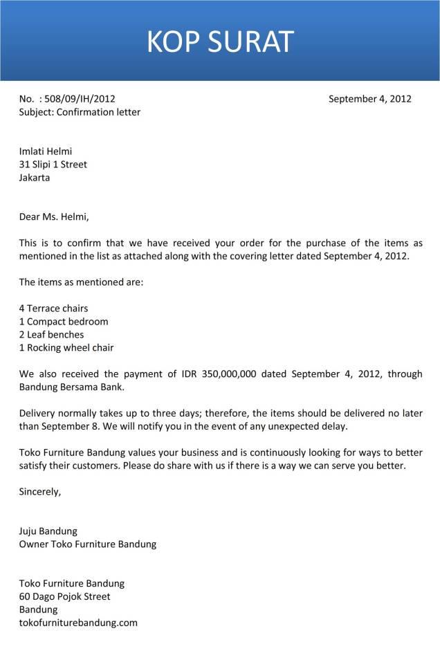 surat konfirmasi dari penjual bahasa inggris C2
