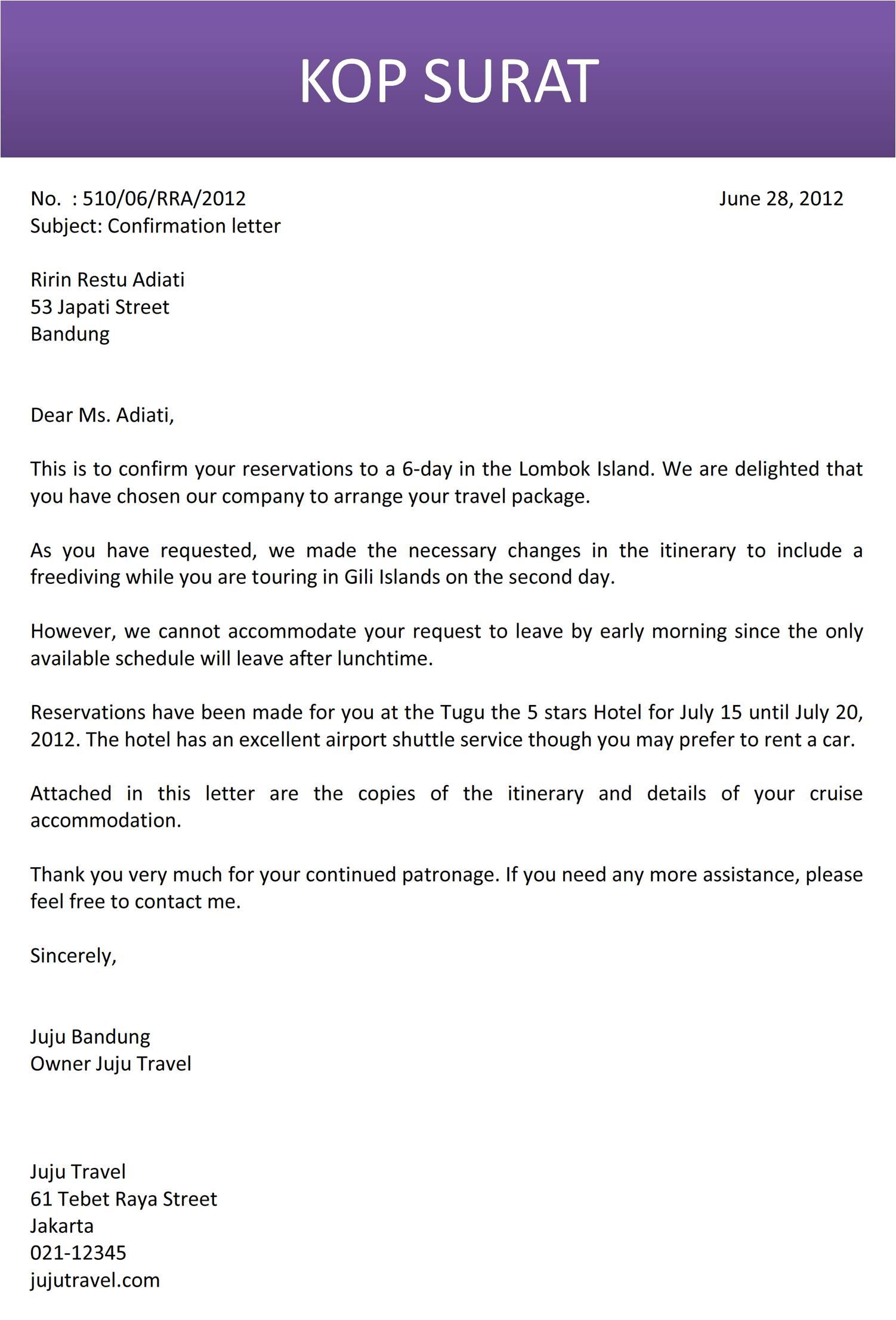 19 Contoh Surat Bahasa Inggris Hotel Reservation Kumpulan Contoh Surat