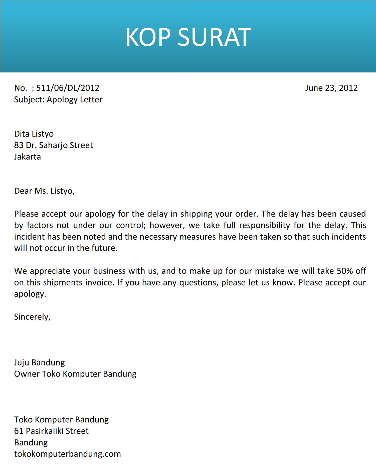 Surat Permohonan Maaf Kepada Pembeli Bahasa Inggris