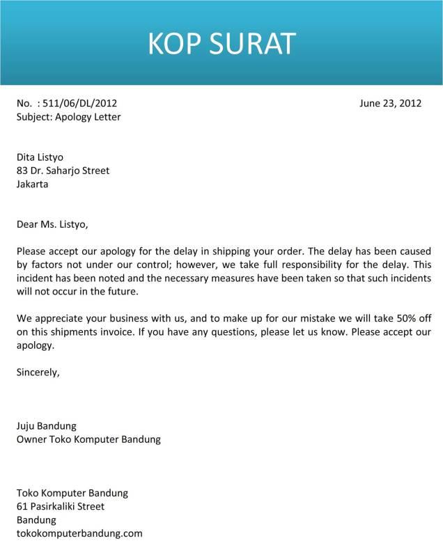 surat permohonan maaf kepada pembeli bahasa inggris C2