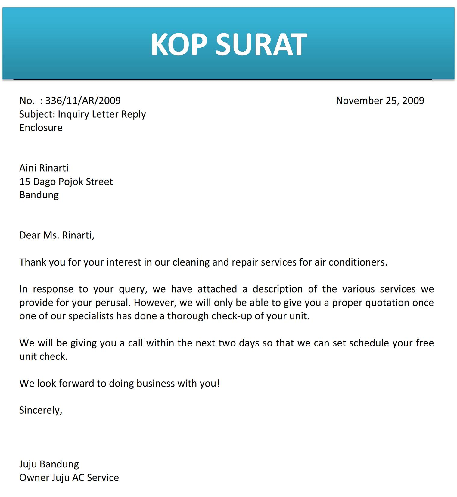 surat balasan permintaan informasi produk atau jasa c4