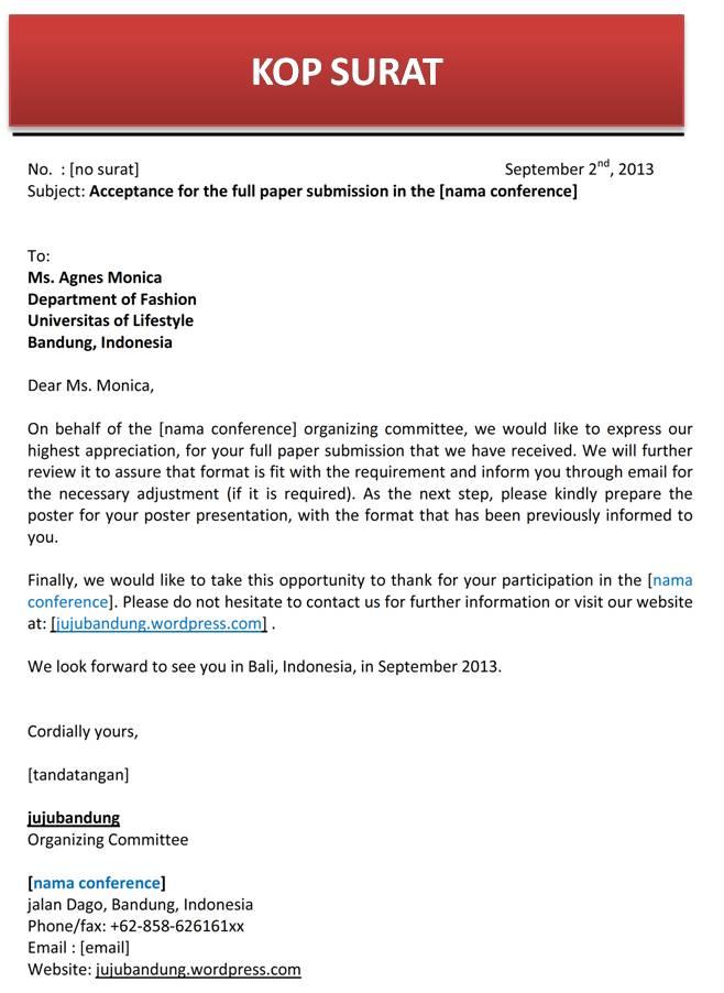 Contoh Surat Full Paper Diterima Bahasa Inggris