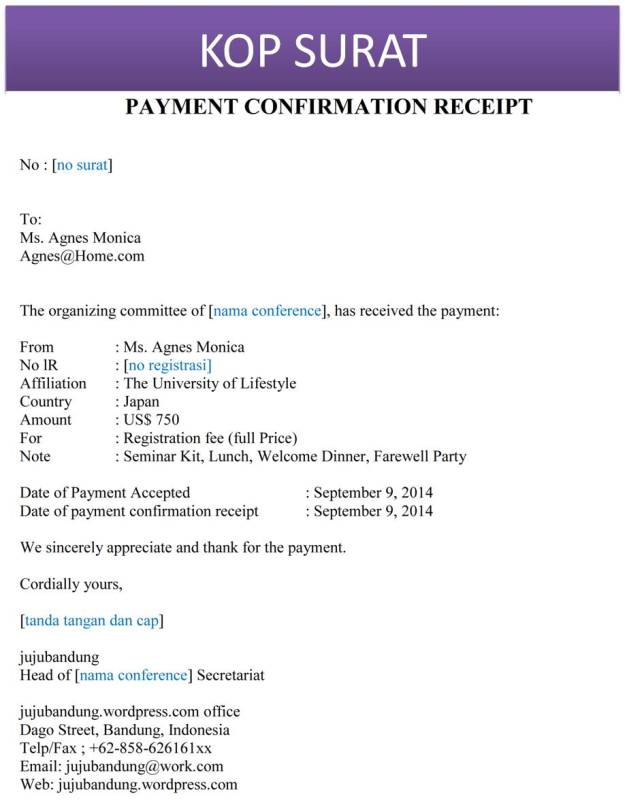 Contoh surat tanda terima pembayaran bahasa inggris