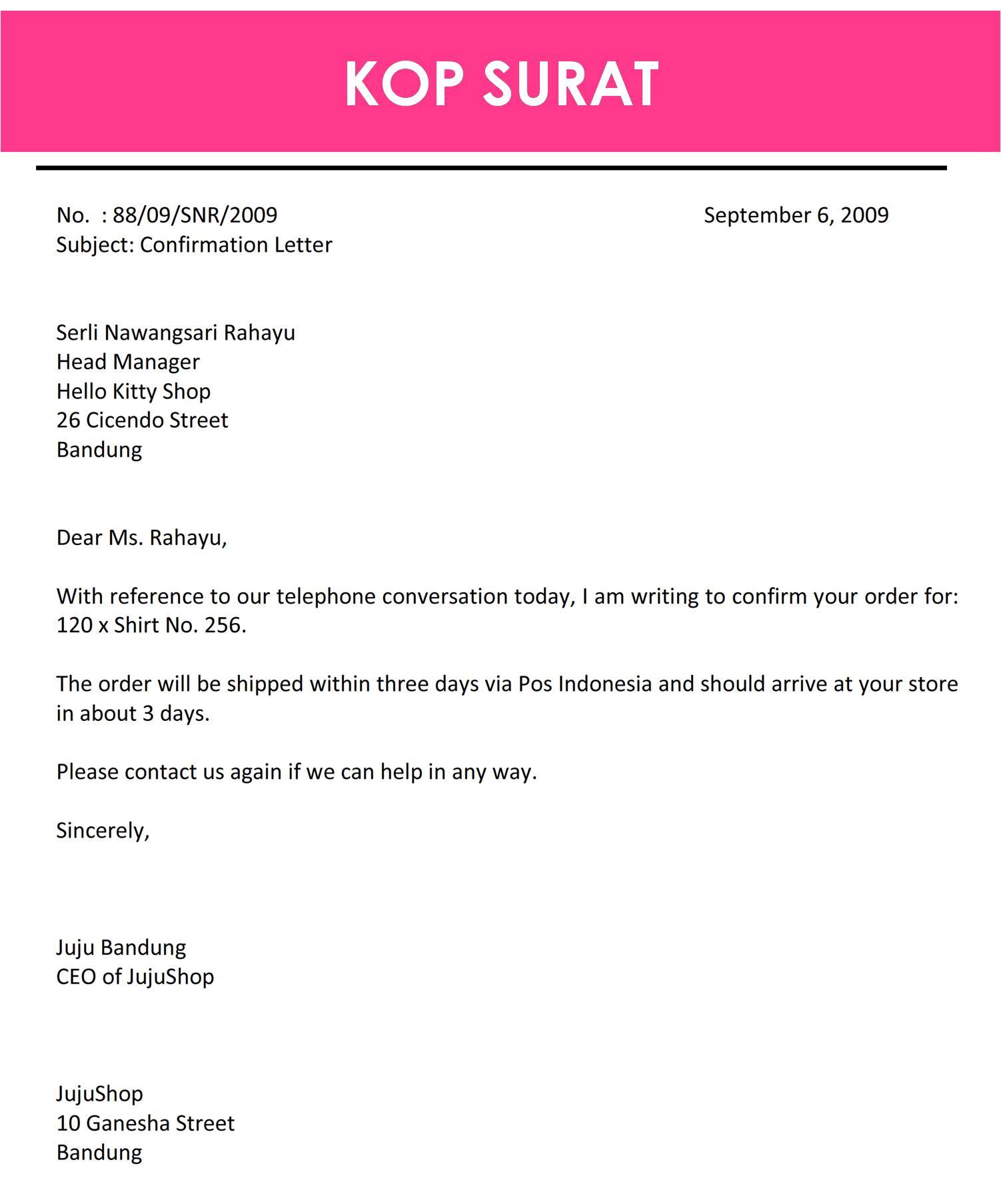 Contoh Surat Bisnis Resmi Dalam Bahasa Inggris