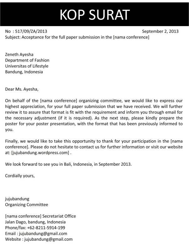 Surat Full Paper Diterima Bahasa Inggris C1