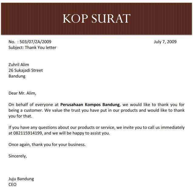 surat terima kasih kepada pelanggan bahasa inggris C1