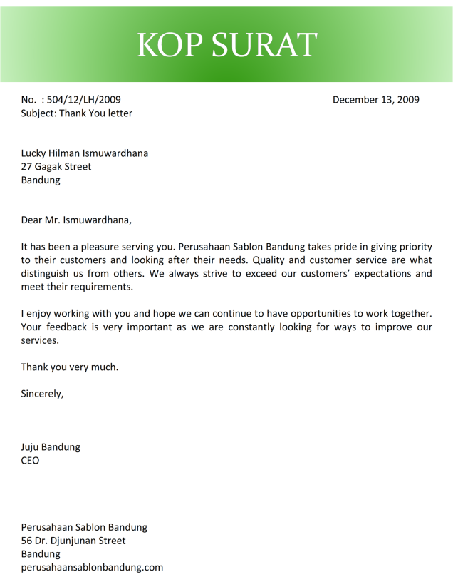 surat terima kasih kepada pelanggan bahasa inggris C2