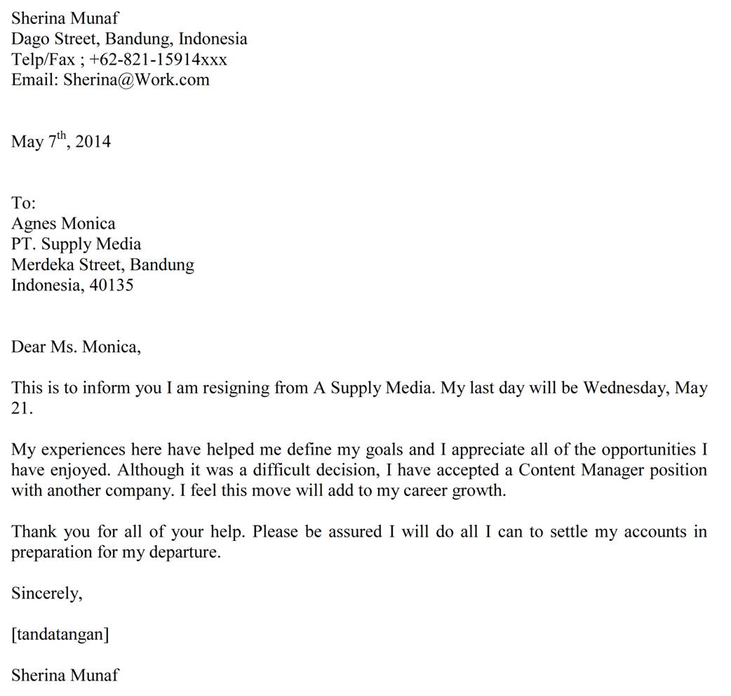 Contoh surat pengunduran diri bahasa Inggris (Resignation letter) gaya
