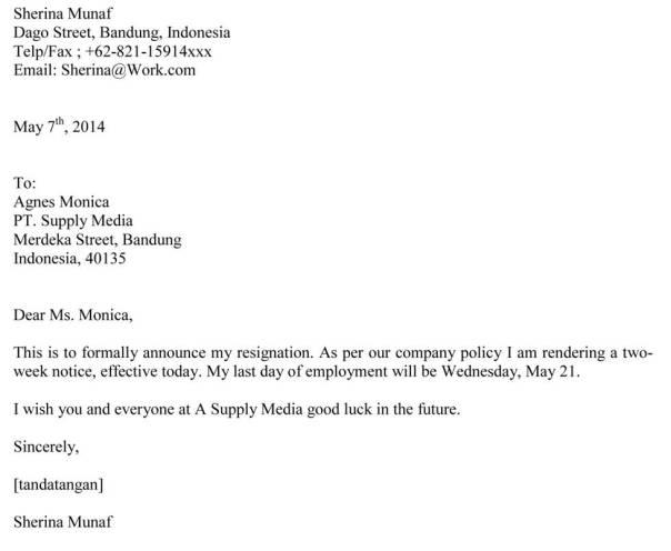 contoh surat berhenti kerja bahasa inggris jujubandung