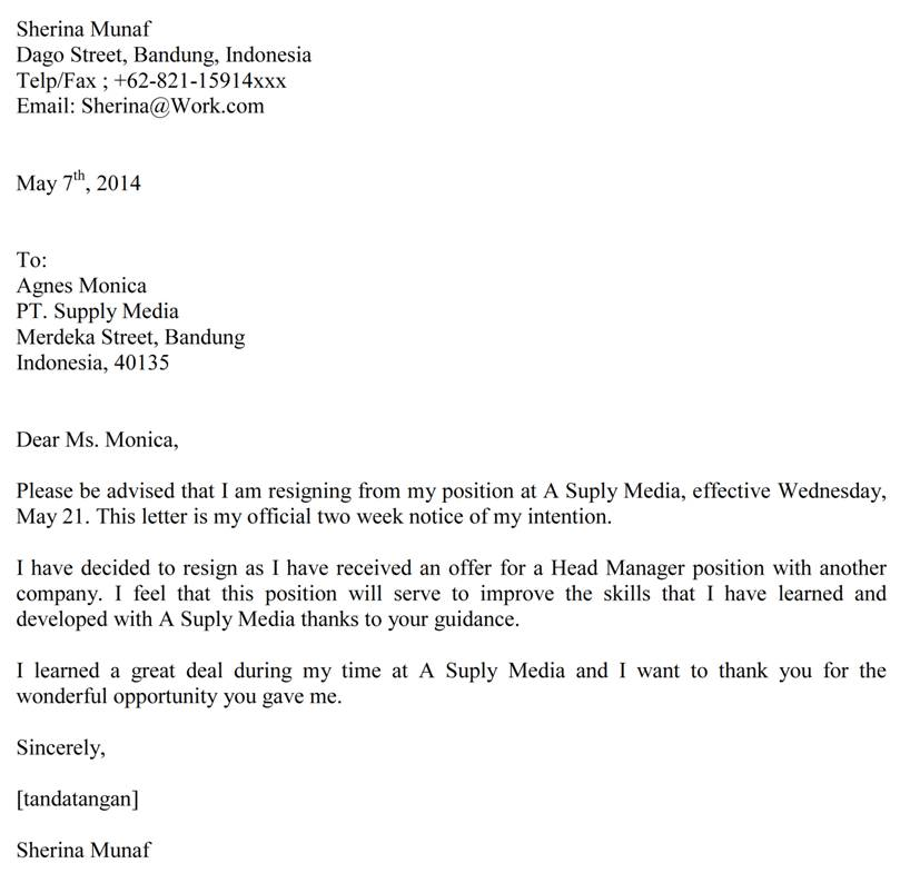 Formal Two Weeks Notice Letter