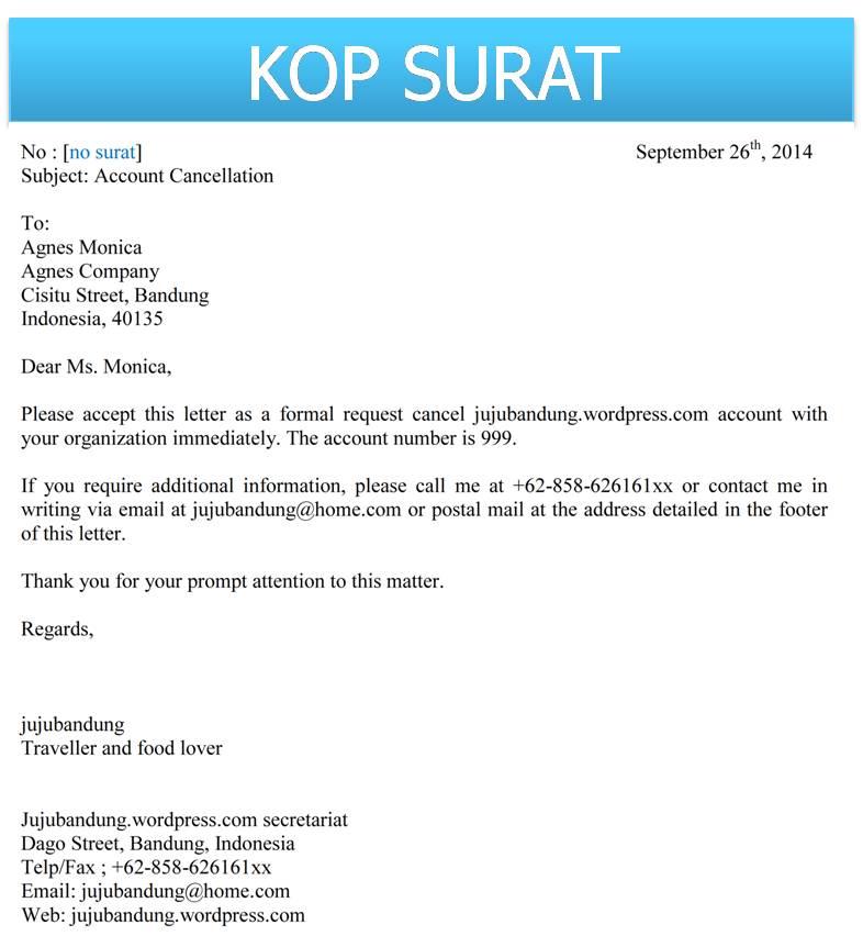 Contoh Surat Resmi Formal Dalam Bahasa Inggris