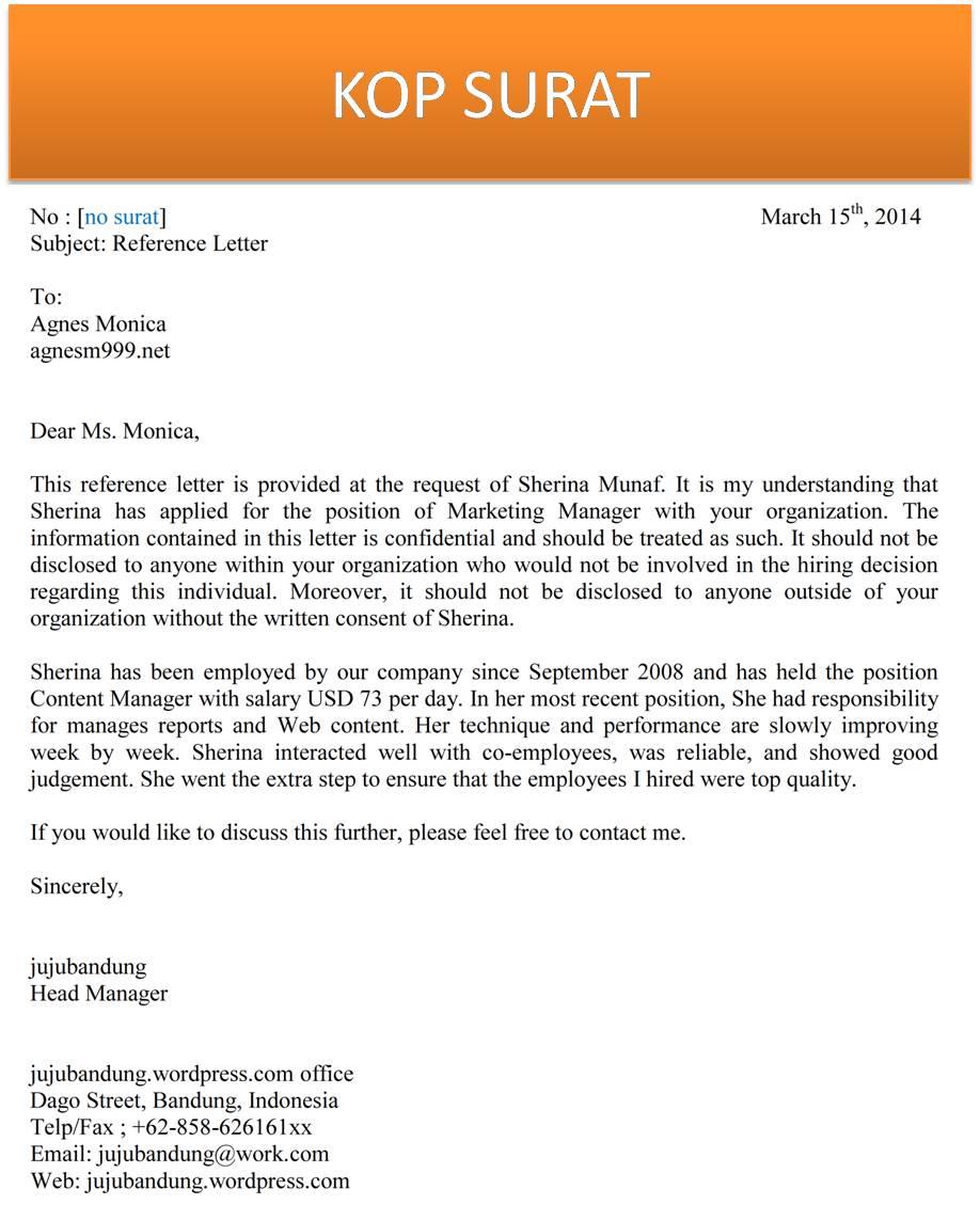 Contoh Surat Rekomendasi Kerja Bahasa Inggris