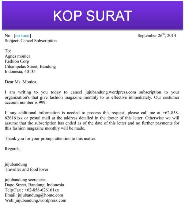 Contoh Surat Untuk Berhenti Berlangganan Pakai Bahasa