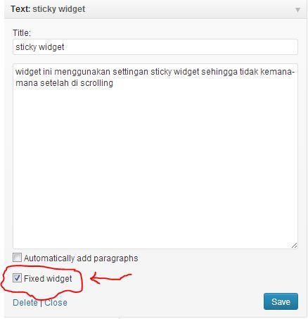 Cara setting Plugin Q2W3 Fixed Widget (Sticky Widget)