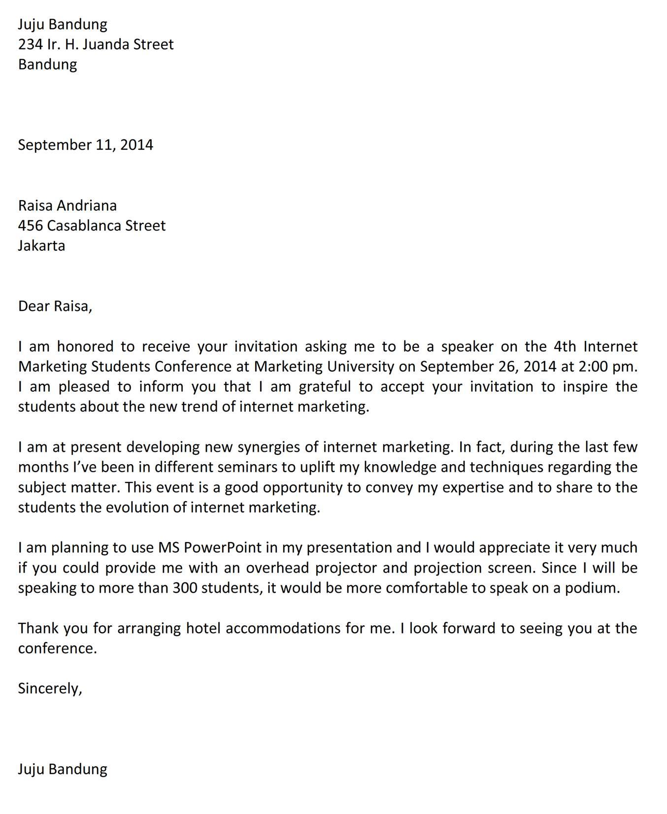 Surat Menerima Undangan Sebagai Pembicara Bahasa Inggris