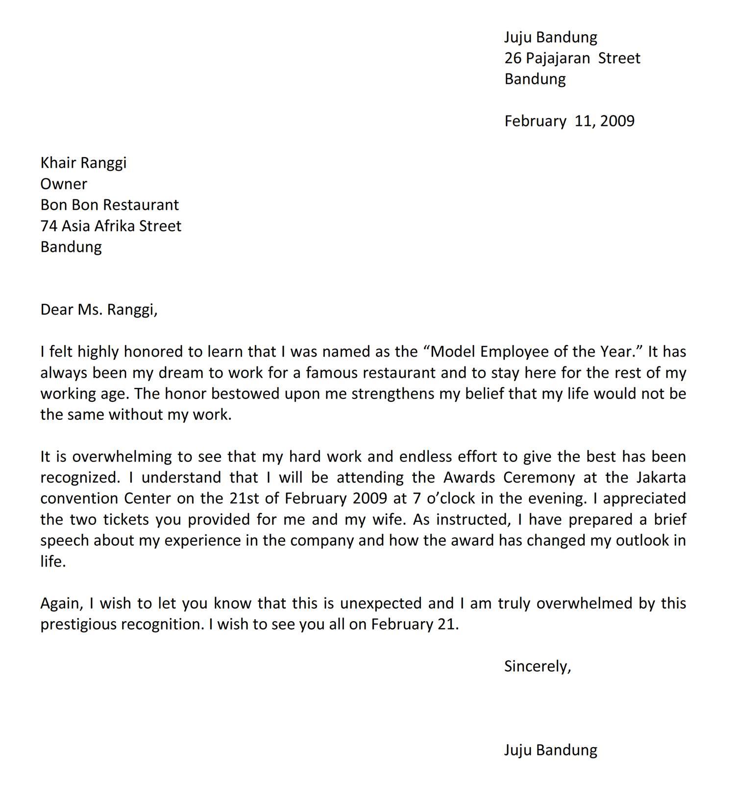 Surat Menerima Penghargaan Bahasa Inggris Jujubandung