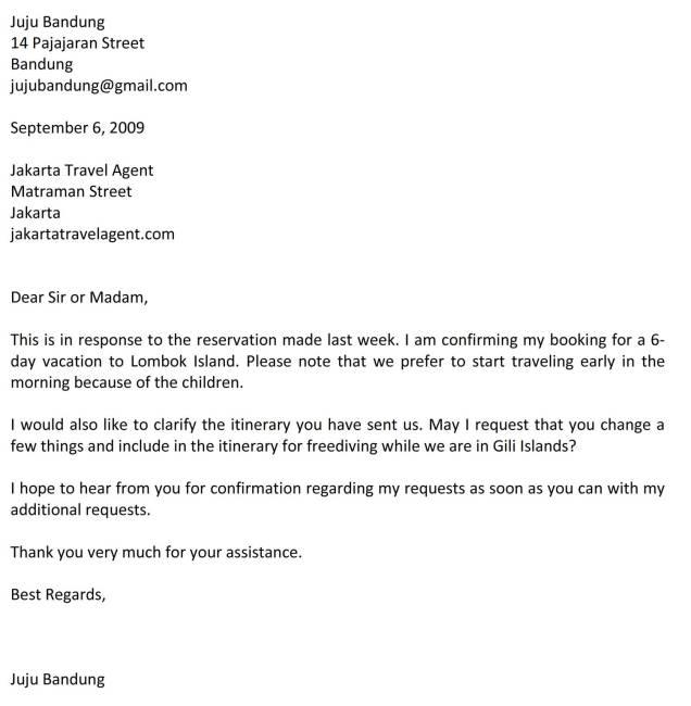 surat konfirmasi travel bahasa inggris C1