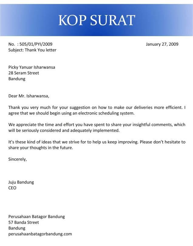 surat terima kasih atas saran C1